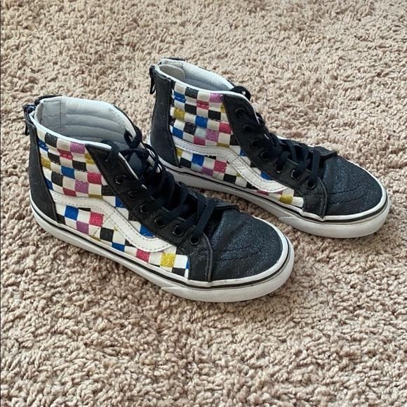 kids glitter checkerboard vans